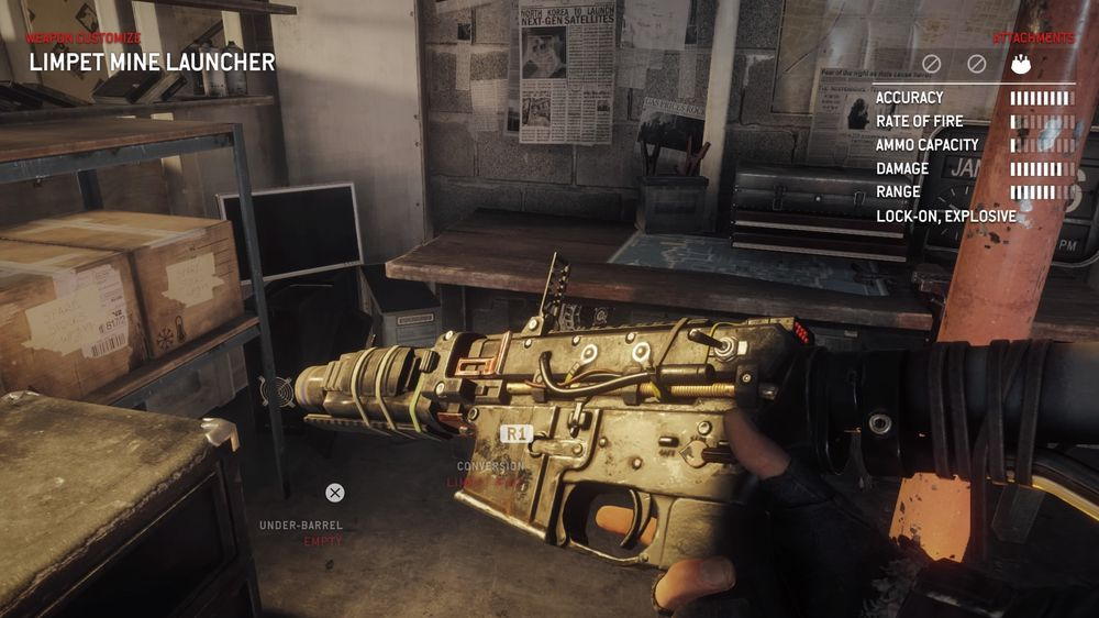 Våpenoppgraderinger må kjøpes først, men er lette å ordne i ettertid. Her har jeg laget en minekaster av et maskingevær.