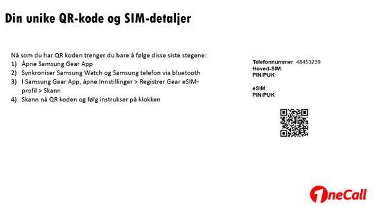 Slik ser kortet vi fikk tilsendt av OneCall ut. Nummer på SIM-kort og koder er tatt bort - det viktigste står igjen. Nemlig en QR-kode som kan scannes med mobiltelefonen.