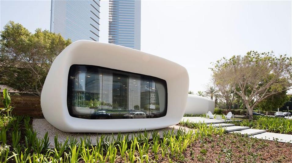 Slik ser den 3D-skrevne bygningen ut fra utsiden.
