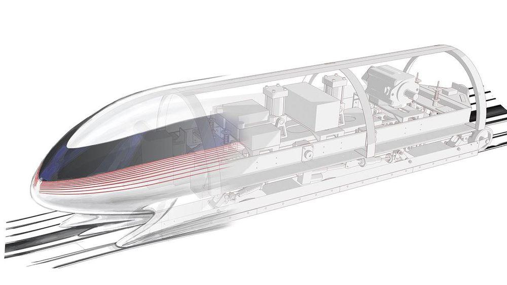 Det nye materialet skal dekkes med sensorer som følger med på togets stabilitet og temperatur. Illustrasjon: Hyperloopdesign fra MIT
