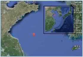 Kartutsnitt viser hvor kollisjonen inntraff. Star Kvarven var på vei fra Kina til Sør-Korea med spesialsand.