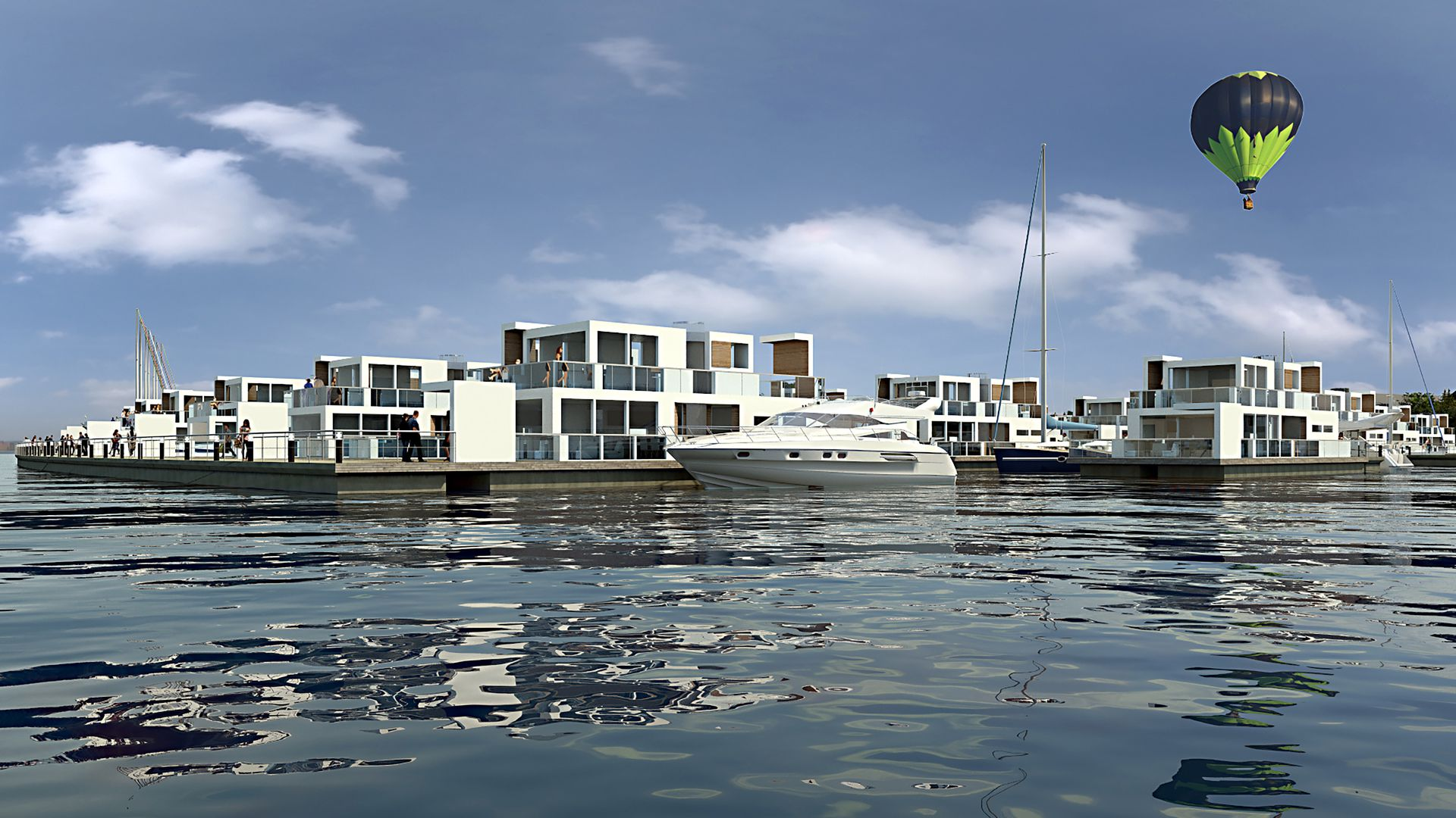 Havneby i Horten: Slik ser Bratsberg Gruppen for seg at det kan bli seende ut i Indre havneby, med båthavn kombinert med flytende boliger.