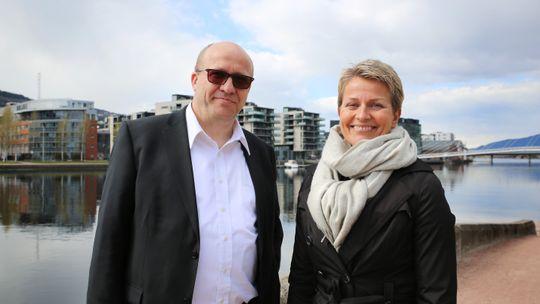 Ut mot havet: Daglig leder Torgeir Finnerud i Eidos og daglig leder Liv Malvik i Grilstad Marina vil begge utvikle fjordbyer. Malviks prosjekt i Trondheim har kommet lengst.