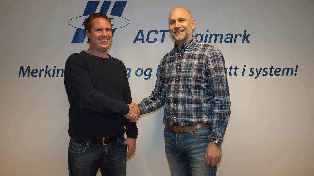 Geir Vevle, medgründer i Hrafn, til venstre, og Morten Mathiesen, daglig leder i ACT Logimark.
