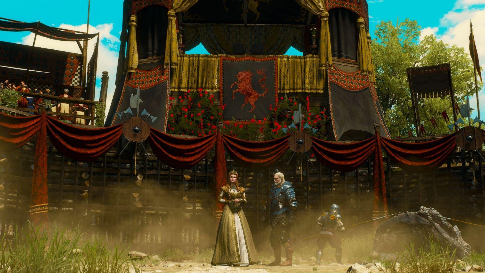 Man er vitne til noen vakre scener, spesielt når man deltar i turneringer. Hertuginne Anna Henrietta til venstre.