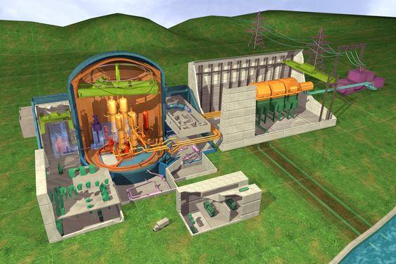 PWR-reaktor: Et PWR-lettvannsreaktor har to kretser for varmeoverføring. Vann blir holdt under høyt trykk av trykkammeret og sirkuleres av reaktorens kjølepumper i primærkretsen (rødt), som overfører varmen fra reaktoren til sekundærkretsene i dampgeneratoren. Reaktorens kraft kontrolleres av kontrollstaver. Trykket i sekundærkretsen er mye lavere enn i primærkretsen, noe som får vannet i dampgeneratoren til å koke. Dampen fra dampgeneratoren får turbinen (til høyre) til å rotere og produserer strøm. Dampen fra turbinen kjøles ned til vann i kondensatoren med sjøvann. Kondensert vann mates så tilbake til dampgeneratoren, mens det varme kjølevannet pumpes tilbake til sjøen.