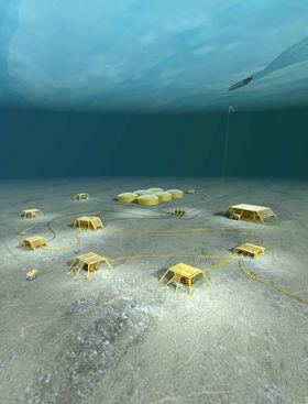 Subsea-system: Illustrasjonen viser et Subsea Storage-system slik det er tenkt å ligge på havbunnen med seks enheter. Spesielt i Barentshavet vil dette være effektivt.