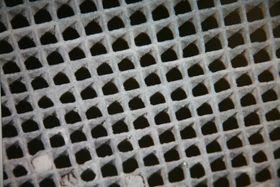 Snitt fra keramisk katalysator med edelmetaller.
