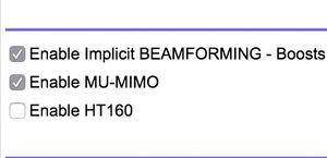 Ved å krysse av for «Enable HT160» aktiveres 160 MHz båndbredde.