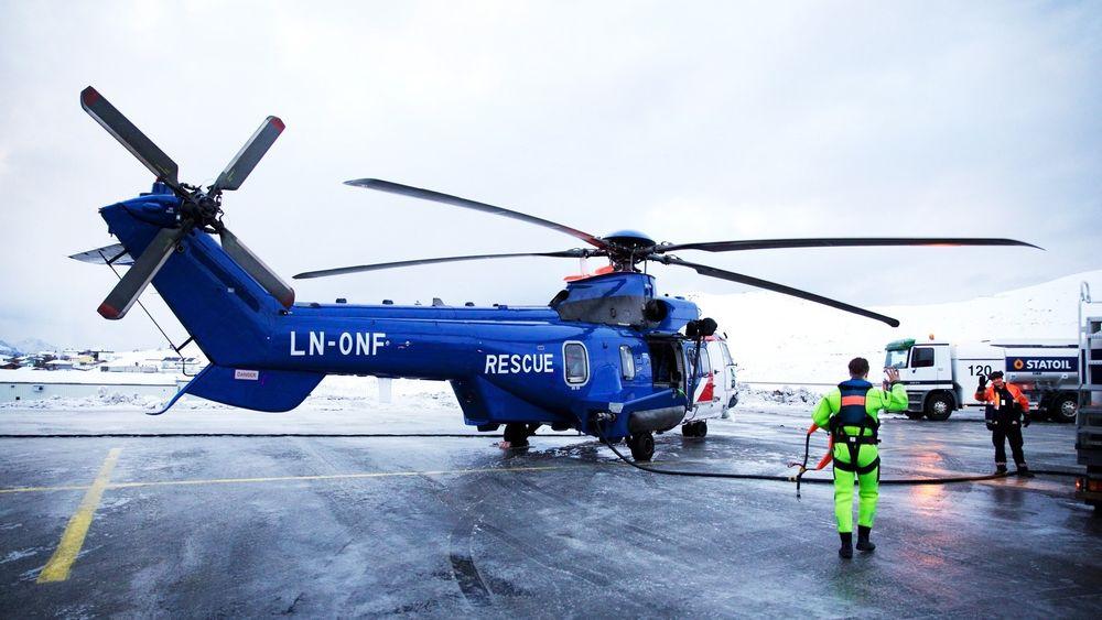Denne AWSAR-maskinen som Bristow har i Hammerfest er blant helikoptrene som nå blir satt på bakken som følge av det utvidede Super Puma-flyforbudet.