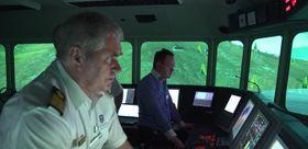 Skipsbrua på MS Midnatsol er bygget opp ved Force Technology i Dnmark for å simulere seiling gjennom Stad skipstunnel.