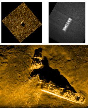 Kartlegging: Hugin har fotografert gamle skipsvrak med ammunisjon. Bildet er tatt med en HISAS 1030 syntetisk aperture-sonar, i 25 meters flyvehøyde på cirka 628 meters dyp. De to bildene øverst viser hvordan Hugin oppdager et mistenkelig objekt, dykker nærmere gog tar nye bilder for sikker identifisering av eventuell mine.