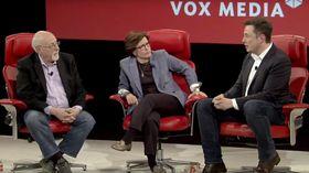 Walt Mossberg (t.v), Kara Swisher og Elon Musk under intervjuet.