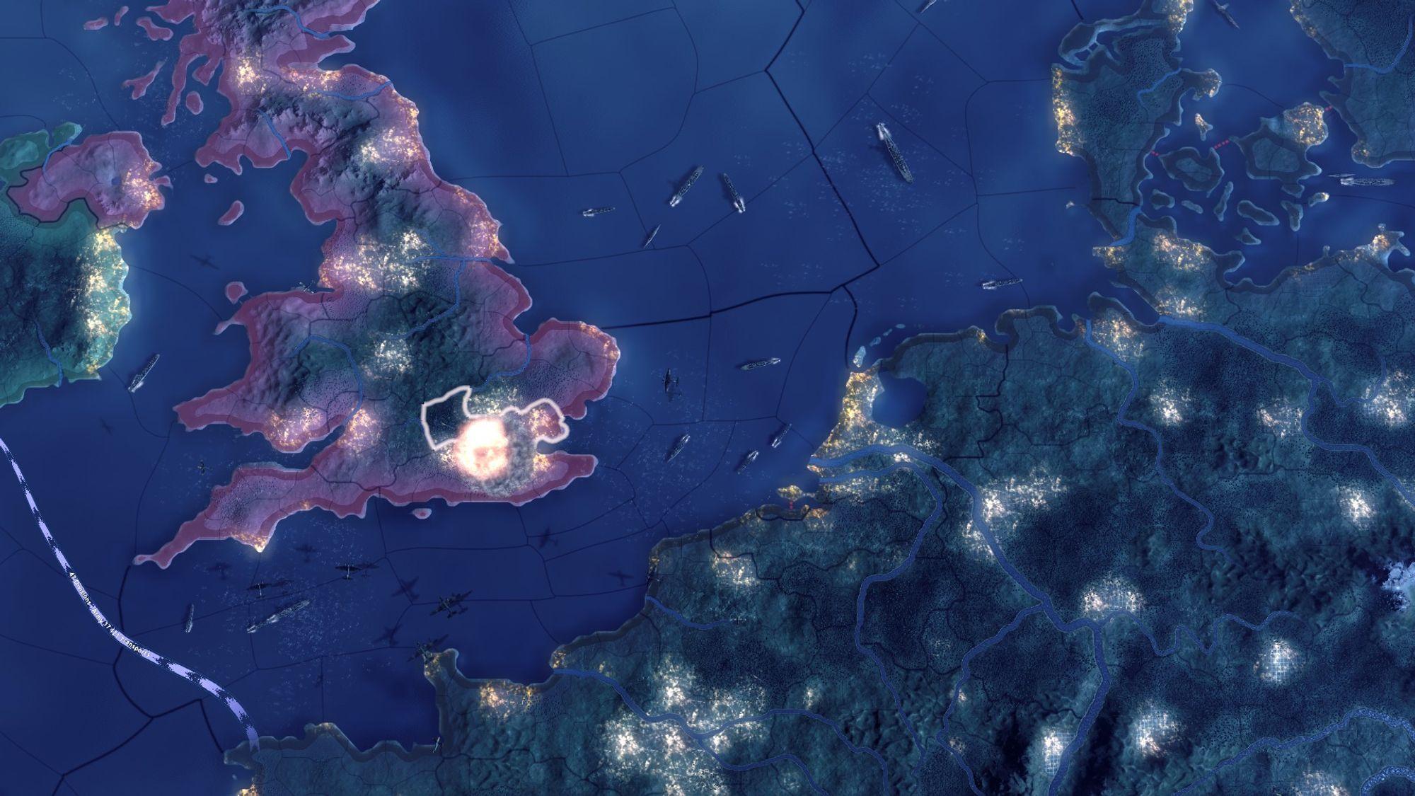 Hearts of Irons natt-og dagsyklus er en vakker funksjon. Om natten lyser verden opp.