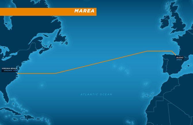 Kart som viser hvor Marea-kabelen går.