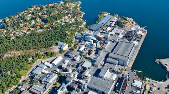 Fiskaa Verk i Kristiansand, en av Elkems mest sentrale lokasjoner i Norge.