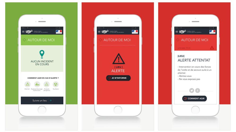 Den nye appen SAIP (Système d'alerte et d'information des populations) endres fra grønn til rød avhengig av trusselnivå og hvor brukerne befinner seg. Slik vil det franske innenriksdepartementet sende advarsel «dersom det er mistanke om forestående angrep».