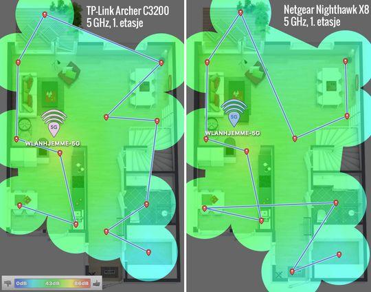 I 1. etasje (etasjen under der ruteren står) har både TP-Link Archer C3200 og den dyrere Netgear Nighthawk X8 god dekning i alle rom, men signalet var noe bedre for X8 i boden lengst ned til høyre på illustrasjonen. Blått er dårligst, grønt er bedre, gult og rødt er best.