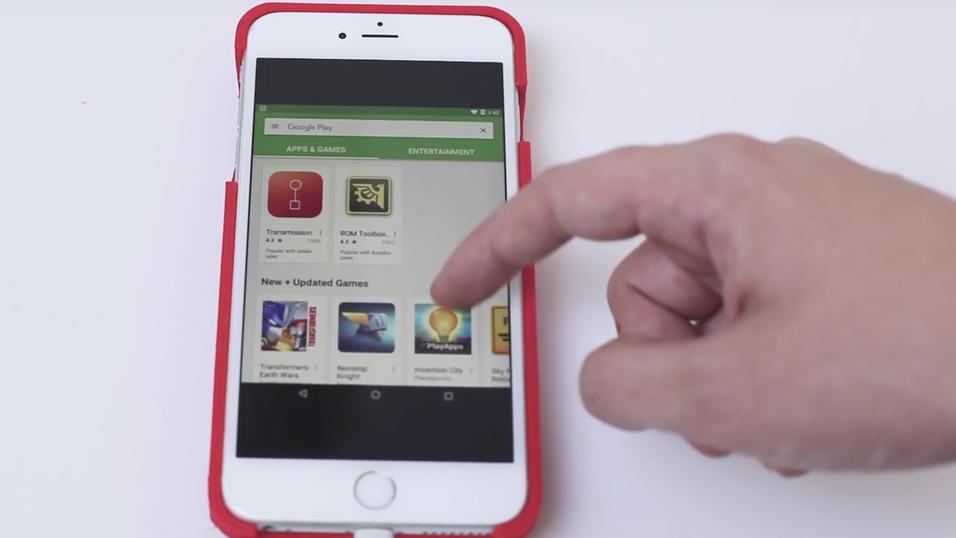 Her surfes det i Google Play på en iPhone.