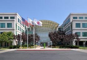 Strømmen skal blant annet selges fra et solcelleanlegg som er tilknyttet Apples hovedkvarter i Cupertino, her avbildet.