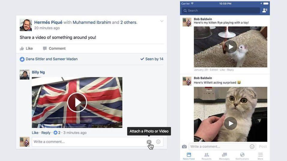 Facebook lar deg nå laste opp videoer i kommentarfeltene
