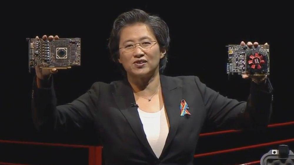 AMD-sjef Lisa Su viser frem AMD Radeon RX 470 og Radeon RX 460 da hun gjester E3-messens «PC Gaming Show».
