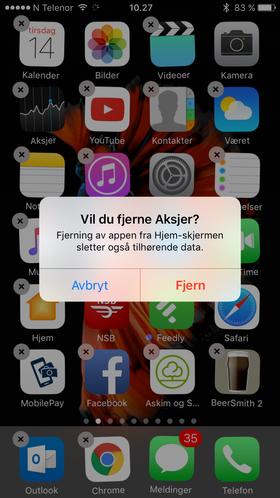 Her er det like før Aksjer-appen ryker. Merk hvordan vi nå kan fjernenesten alle Apples egneapperfra iOS 10-hjemskjermen, som Notater, Musikk, Været, iTunes Store og Påminnelser.