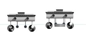 SWATH-løsningen betyr problemer med stabilitet i liten fart og ved kai. Det løses med senkeskrog mellom spiralskrogene.