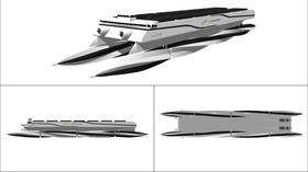 Futuristisk design på skrogkonseptet med roterende pongtonger.