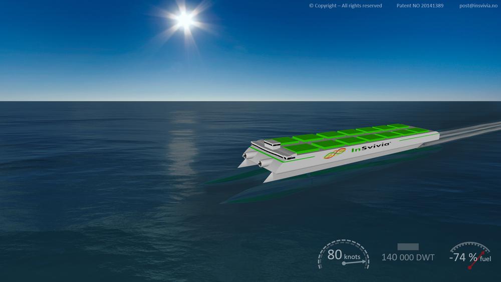 InSvivia-konseptet tegnet som et stort containerskip som i teorien skal kunne gå i 80 knop. Det er ifølge ekspertisen uoppnåelig.
