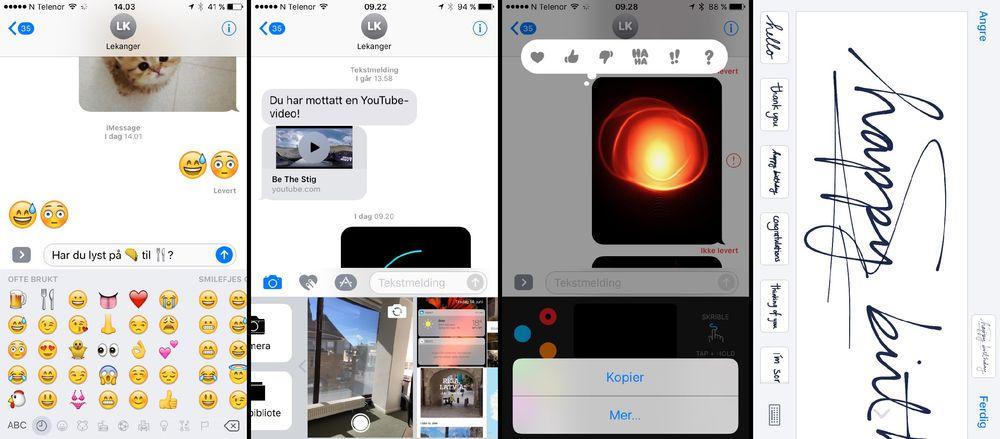 Den nye meldingsappen har mange nye funksjoner, som større emojier og mulighet til å automatisk endre ord til emojier. Du kan ta bilder direkte i appen (skjermbilde nummer to), sende «hjerteslag» (bilde tre) eller lage håndskrevne meldinger.