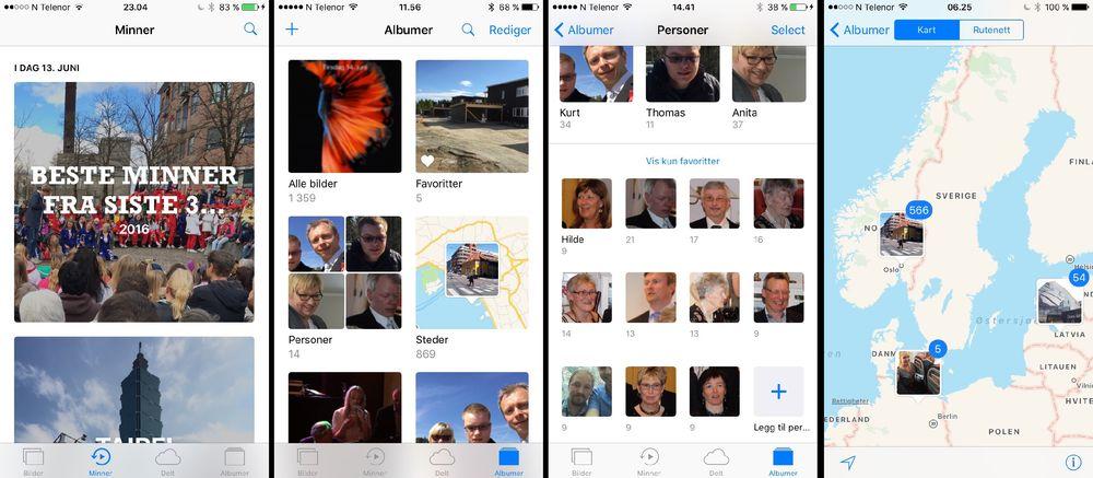 Bilder-appen samler automatisk bilder under «Minner» og har også fått innebygget ansiktsgjenkjenning.