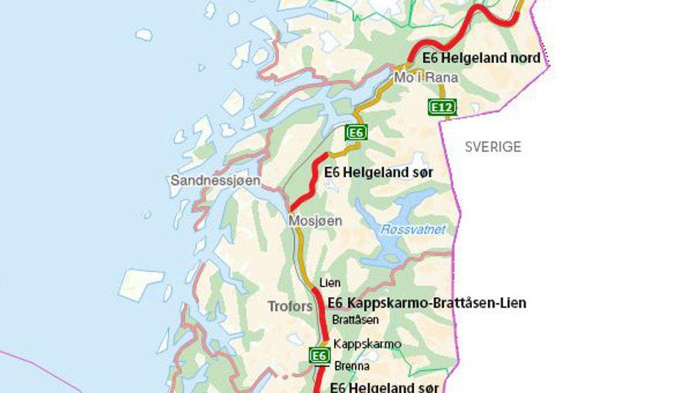 Prosjektet E6 Helgeland Sør strekker seg fra fylkesgrensa til Nord-Trøndelag og opp til Korgfjellet.