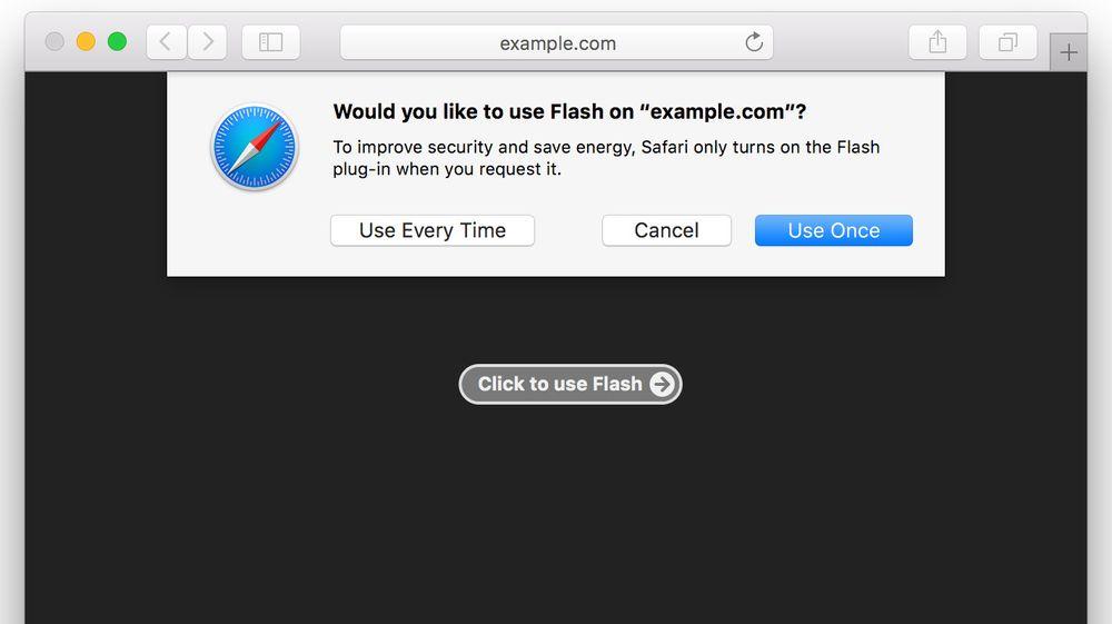 Dialogboksen som Safari 10 vil vise brukere som virkelig ønsker å spille av Flash-innhold i nettleseren.
