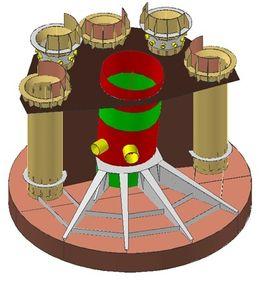 Modellen viser de kompliserte strukturene nederst på hvert bein. Fire skal sveises i Verdal i stedet for Dubai. Det betyr 3.000 tonn stålarbeid flagget hjem.