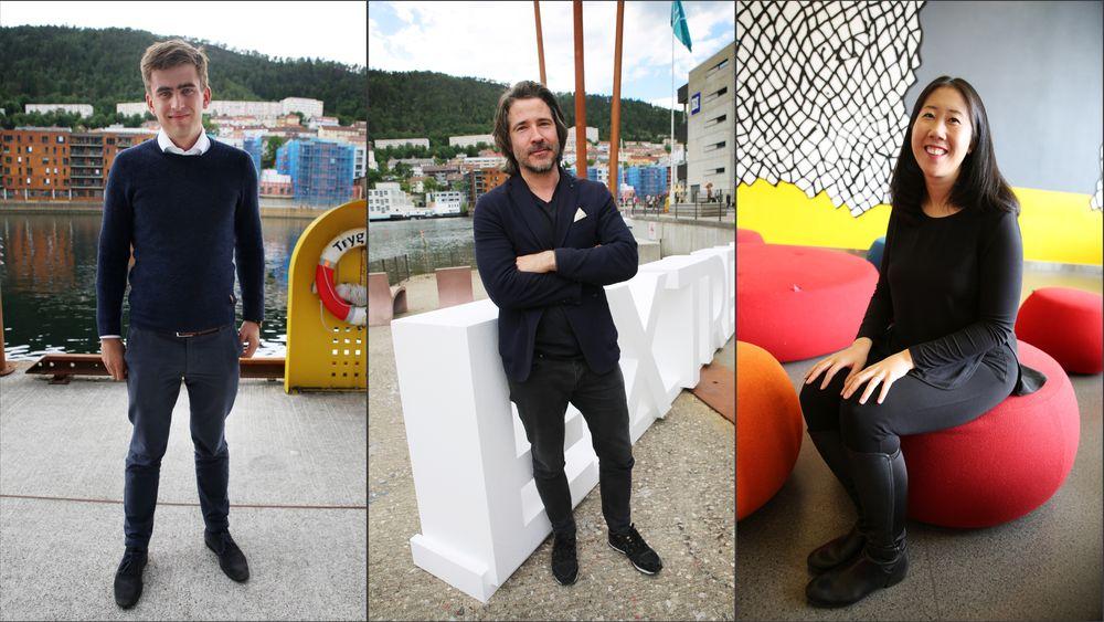 På jakt: Toppsjef Jason Ball i Qualcomm Ventures (i midten)  investerer gjerne i startups med 6 personer, og utvikler det til selskap på mange hundre ansatte. Nå er han i Norge på jakt etter oppstartsselskap som har gått under den internasjonale investorradaren. Vi spurte ham, hans finske investorkollega Lauri Kokkila og amerikanske Angela Lee om hva de ser etter i Norge.