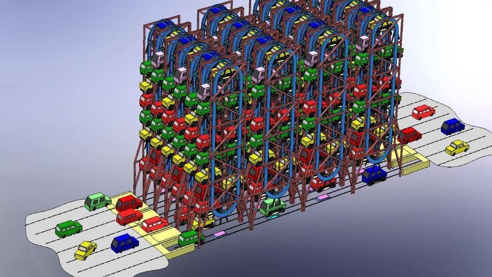 Forslaget går ut på å føre opp automatiske, fleretasjes oppstallingsplasser for bil. Her vises den vertikale løsningen.