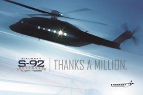 Sikorsky markerer at deres S-92-helikoptre nå har passert en million flytimer til sammen.