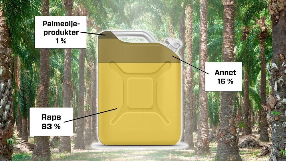 Så langt står biodiesel basert på raps for 83 prosent av det biodrivstoffet som fylles på norske biltanker. Nå tyder ting på at palmeoljebaserte produkter vil få større innslag enn i dag på neste års statistikk (2016). På slutten av fjoråret begynte flere aktører å ta i bruk det palmeoljebaserte produktet PFAD for å oppfylle norske miljømyndigheters omsetningskrav. Når bio-satsingen nå skal trappes opp, blir det også nødvendig å ta i bruk såkalt HVO, et drivstoff som i dag er mye basert på palmeoljerelaterte produkter, advarer Norsk Petroleumsinstitutt.