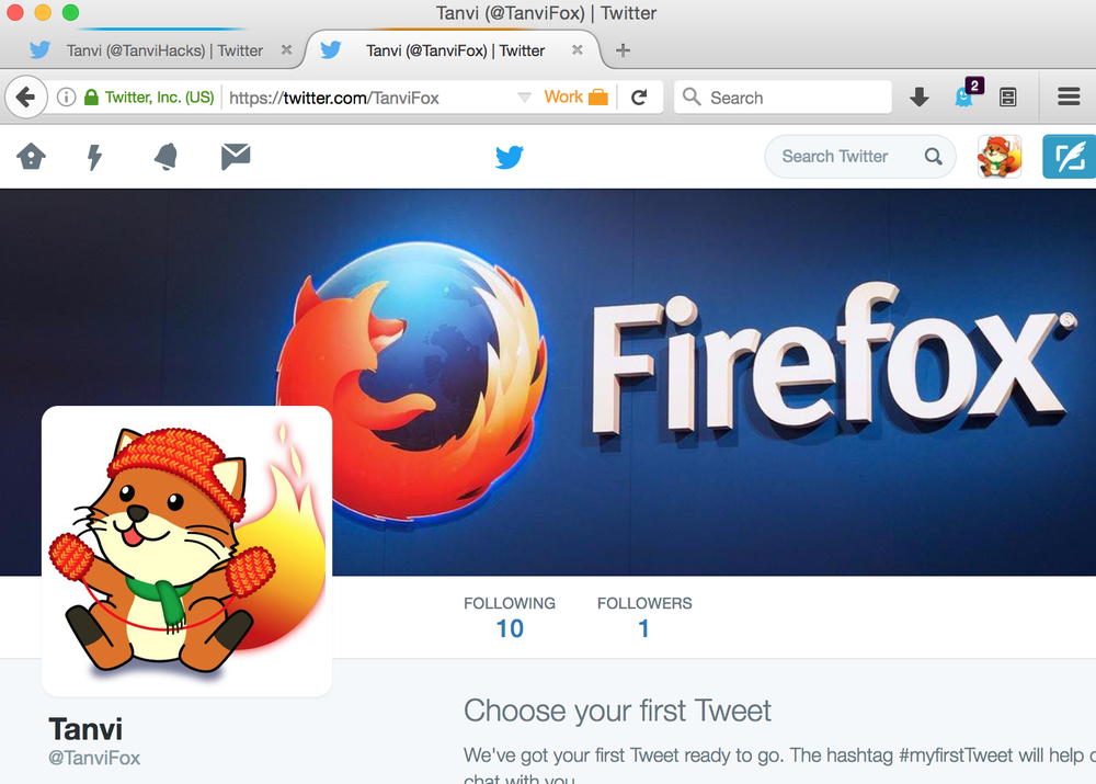 Med Containers i Firefox kan man på samme tid og i samme nettleservindu være innlogget med for eksempel to ulike Twitter-kontoer.