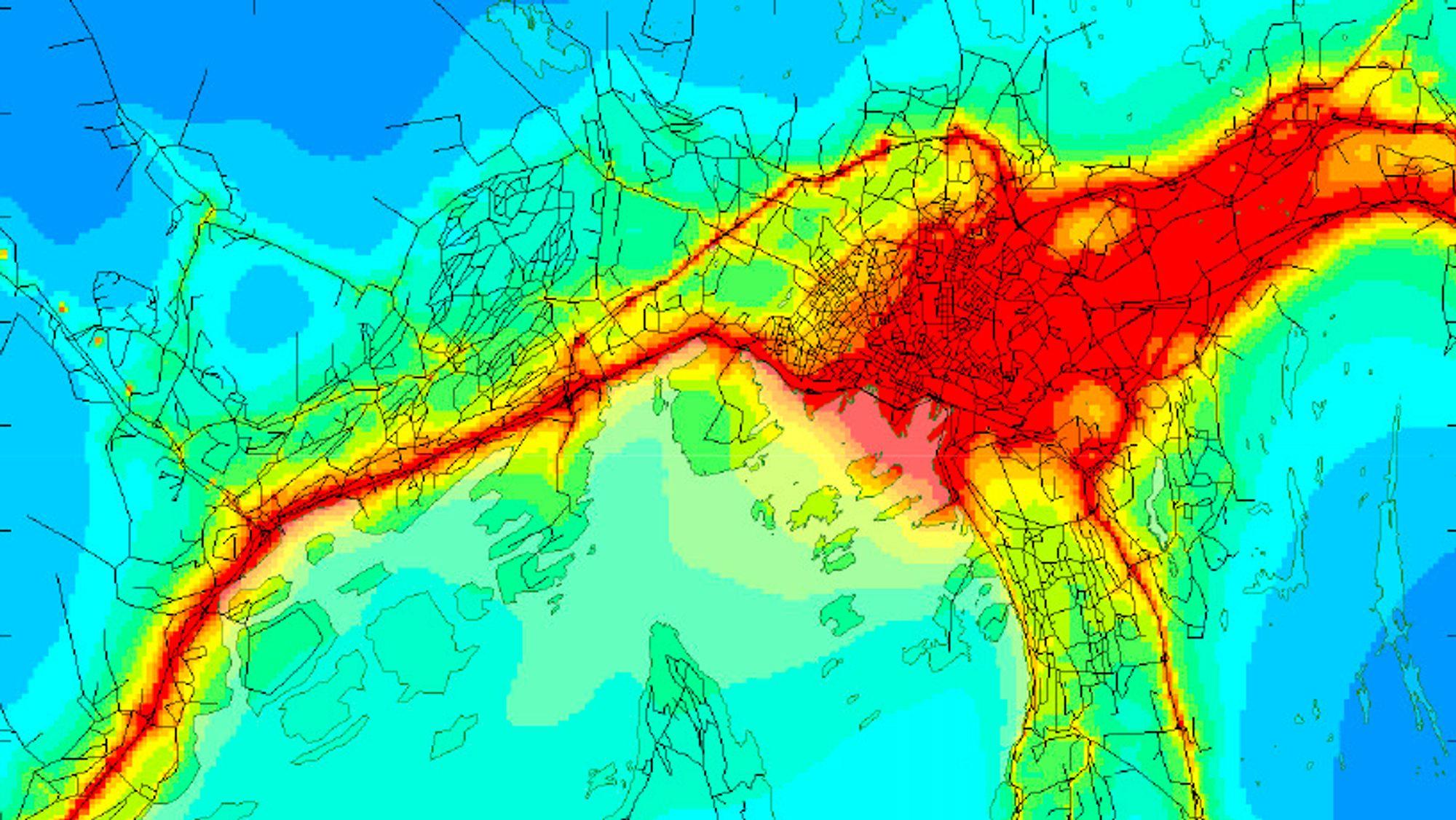 Kartet viser årsmiddelverdien for nitrogendioksid (NO2) i dag. Områder i rødt ligger over både dagens grenseverdi og forslag til nye helsebaserte nasjonale mål.