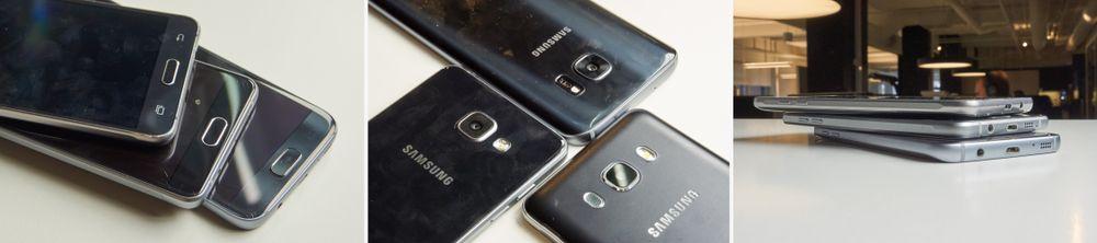 Galaxy S7, Galaxy A5 (2016) og Galaxy J5 (2016) er ikke så ulike som forgjengerne sine. Nå er alle bygget i metall, og har en utpreget premium-følelse. Materialkvaliteten på de to førstnevnte er imidlertid mye høyere enn på J5, som virker mindre sofistikert. Det er plast bak, hjemknappen ripes fort opp, aluminiumen er av dårligere kvalitet og med kjipere finish – og kameraet har ikke noen ekstra detaljer (les: ringer rundt objektivet).