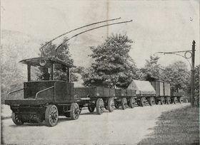Slike elektriske vogntog uten skinner skulle revolusjonere godstrafikken i Berlin rundt år 1900.