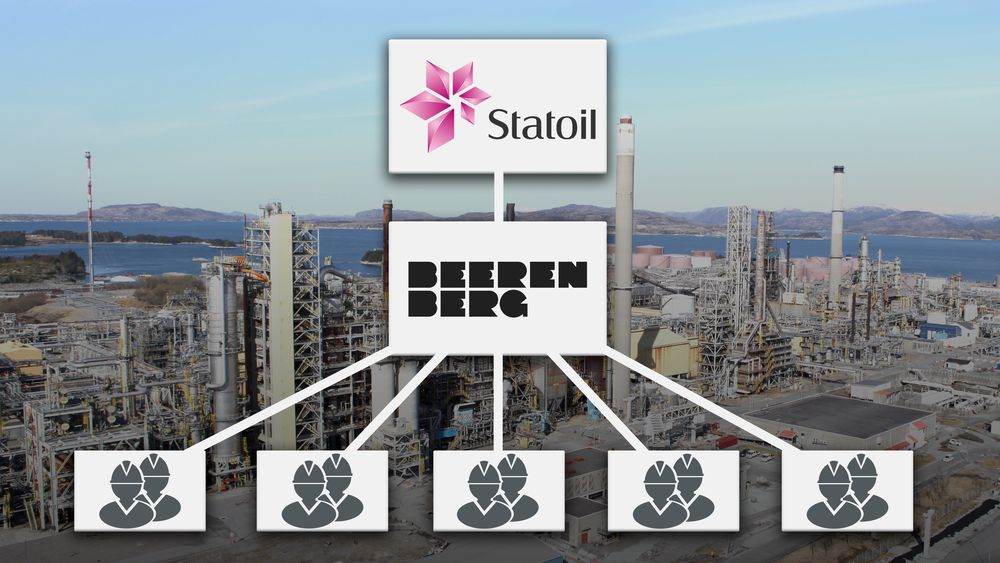 Statoils tildelte ISO-kontrakt med Beerenberg på Mongstad i fjor. Beerenberg leier igjen inn personell fra underleverandører.