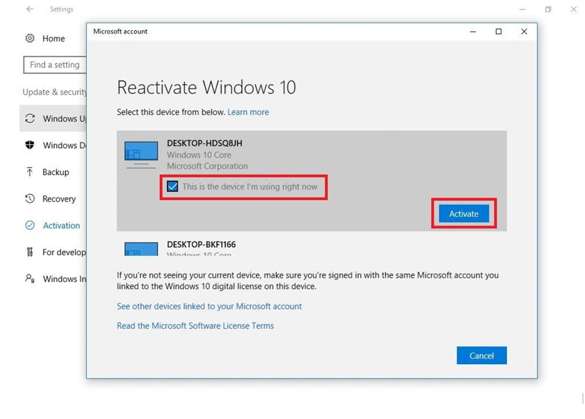Activation Troubleshoot: Fortell Microsoft hvilken av de tidligere Windows 10-installasjonene man har registrert som skal reaktiveres på pc-en man nå bruker.