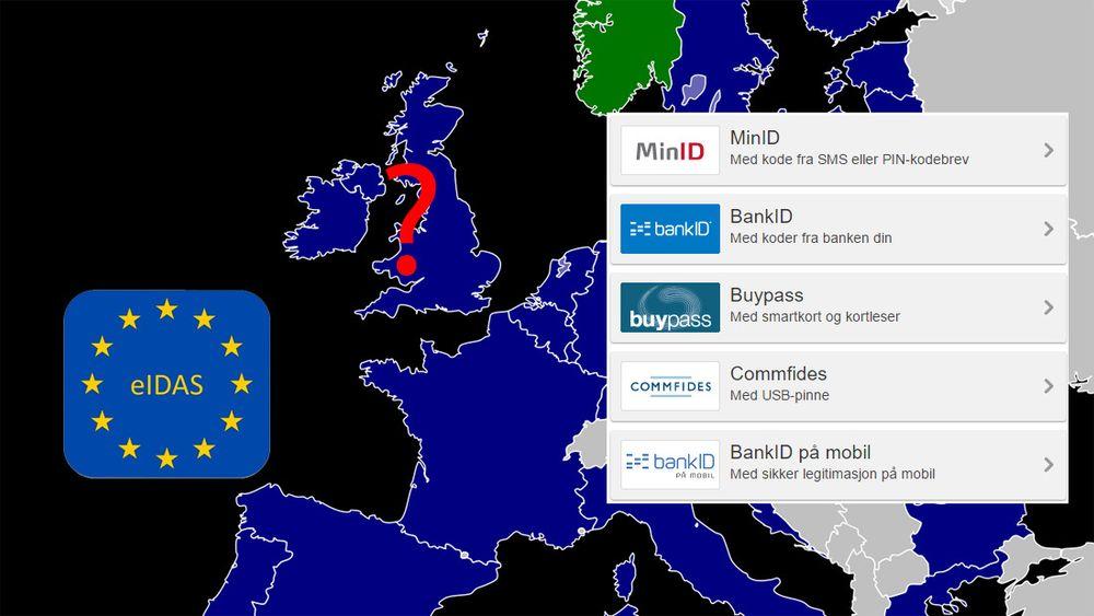 eIDAS-forordningen åpner for bruk av elektroniske ID-er og signaturer på tvers av landengrensense i det meste av Europa. Det er dog uklart om dette vil gjelde Storbritannia, etter gårsdagens brexit-valg.