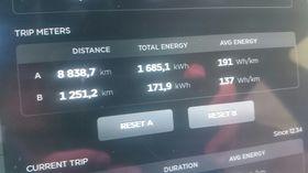 Tripmeter i Teslaen etter gjennomført tur.