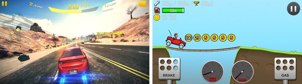 Spill som Hill Climb Racing (høyre) egner seg godt på J5.