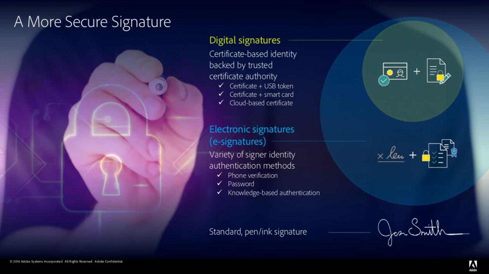 Ifølge Adobe er digitale signaturer sikrere enn elektroniske signaturer. Vanlige, håndskrevne signaturer er enklest å forfalske.