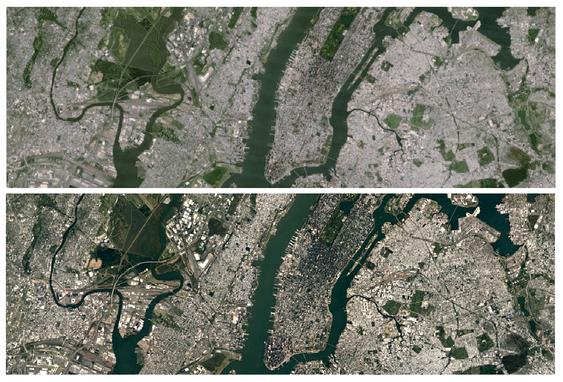 Bildet viser New York City før og etter oppdateringen av Google Maps.